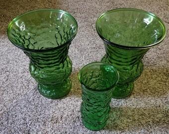 1960's E.O. Brody Green Glass crinkle vases