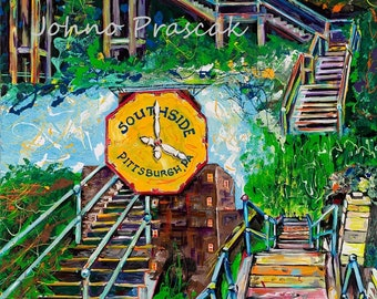 City Steps, South Side Pittsburgh, Pittsburgh wall art, Pittsburgh art,  Pittsburgh Artist Johno