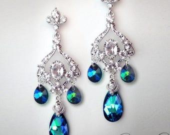 JASMINE Peacock Blue Bridal Chandelier Earrings
