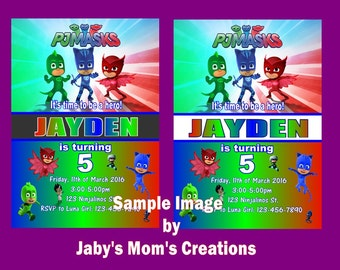 PJ Masks Birthday Party Invitations, white envelopes and envelope seals included