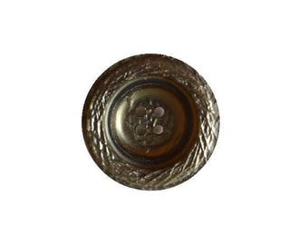 Brown textured bucket-shaped button (00559)*Available in Quantity*