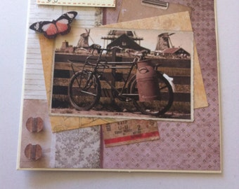 vintage bike and Butterfly birthday card