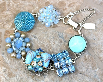 Bridesmaid Gift, Wedding Bracelet, Vintage Earring Bracelet, Sky, Cerulean, Aqua, Blue, Silver, Jennifer Jones, Under 40, OOAK - Bella Blue