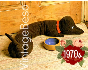 Doggie Door Draft Stopper KNITTING PATTERN • Dachshund Draught Excluder Instant Download Pdf Home Decor to prevent cold winds into your home