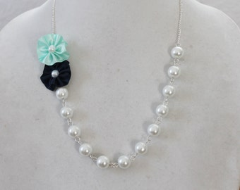 White Pearl with Navy and Mint Green Flower Necklace