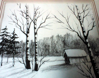 Original Drawing Finnish Landscape - Finland - Nousiainen - Suomi Finland 2002 - 31 x 41 cm - Will be Shipped without Frame !