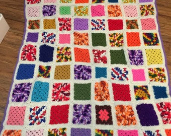 Vintage Granny Square Crochet Afghan - gorgeous!