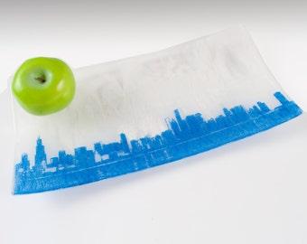 Chicago Skyline Fused Glass Serving Platter