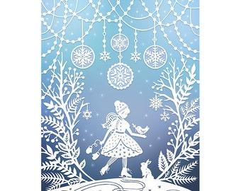 8x10 Print - Winter Wonderland - Original Papercut Illustration