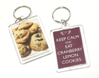 Keep Calm and Eat Cranberry Lemon Cookies Key Chain / Keychain / Cookies Keychain / Vegan Keychain/ Dessert Keychain