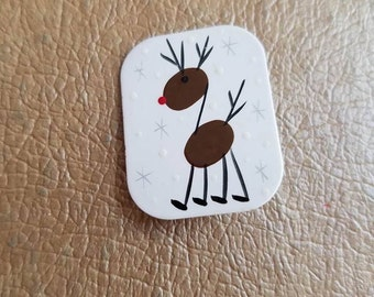 Vintage Christmas Reindeer Rudolph Brooch or Pin Hand Made Painted Signed Snowflakes