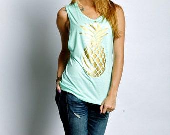 Pineapple Womens Tank. Tropical Summer Pineapple Tank. Pineapple Fashion. Pineapple Tee Shirt. Muscle Tank. Gold Pineapple Shirt. Pineapple