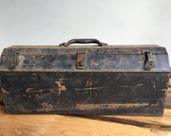 Vintage Black Metal Tool Box, Tackle Box, Rusty Steel Box with Handle and Lock