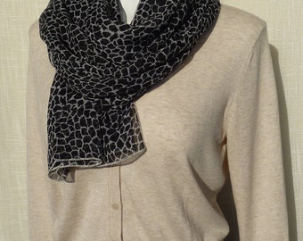 Black and White Mosaic Crinkle Chiffon Scarf