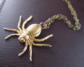 Spider Vintage brass charm necklace
