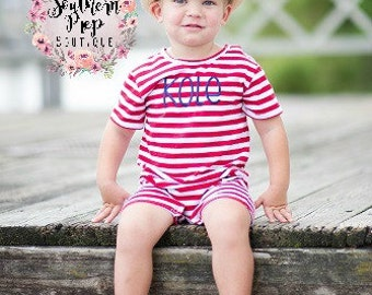 Boy's Custom Monogram Romper - Red & White - Summer outfit - Monogrammed Romper / Jon Jon- Shower gift - Summer Bubble