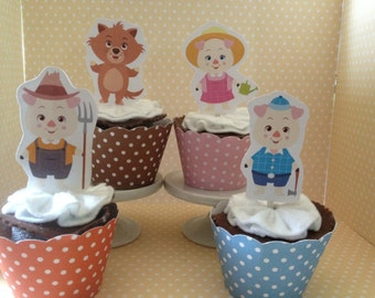 3 Little Pigs with Big Bad Wolf Party Cupcake Topper Decorations - Set of 10