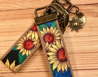 Blue Sunflower wristlet, Black Sunflower wristlet, Key Wristlet, Sunflowers wristlet, sunflowers, keychains