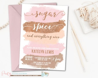 Delightful Sugar And Spice Baby Shower Invitation, Sugar And Spice And Everything Nice  Invitation, Baby