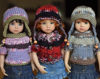 "24. Sweater & Earflap Hat - PDF Knitting Pattern for Dianna Effner 13"" Little Darling Dolls"