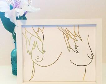 Breasts Print Hand Drawn   gold foil print, Free the Nipple art, feminine nudity, nudity art print, female nudity print, boobs wall art