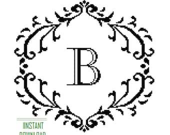Instant Download Cross Stitch Monogram Pattern black Monogram Initial Alphabet B letter B Gift Home Decor House Warming Wedding Anniversary