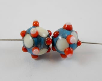 Handmade Lampwork Glass Beads,Organic Jewelry Supplies,Earring Components,Colorful Raised Dots in Bohemian Style,OOAK artisan Round Beads