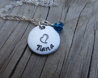 """Nana Necklace- Hand-stamped """"Nana"""" with a stamped heart and an accent bead in your choice of colors - Jenn's Handmade Jewelry"""