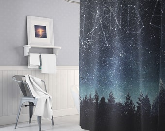Starry Forest Shower Curtain, Wanderlust Bath Curtain, Boho Bathroom Decor, Original Artwork, Nature Bath Curtain, Unique Gifts, Indie