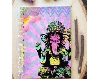 Ganesha Spiral Bound Notebook - Yoga Zen Journal - Hard Notebook - Spiral Journal - Back to School - Gift - Journal - Quote Diary - Elephant