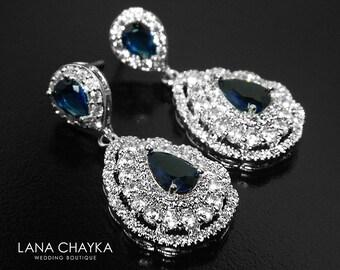 Navy Blue CZ Bridal Earrings, Teardrop Blue Crystal Wedding Earrings, Sapphire Chandelier Earrings, Sparkly Crystal Earrings, Prom Jewelry