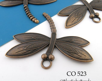 60mm Large Antique Copper Dragonfly Charm (CO 523) 1 pc BlueEchoBeads