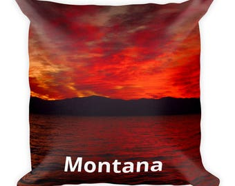 Montana Souvenir, 18 x 18 Square Pillow, Flathead Lake, Pretty Sunset, Gift for Him, Gift for Her, Birthday Gift, Father's Day Present