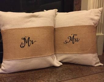 Mr & Mrs Pillow Wrap, Burlap Pillow Wrap, Wedding Decoration, Mr and Mrs, Adjustable Pillow Wrap, Embroidered Pillow Wrap, Pillow Band