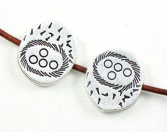 4 sterling silver plate Bird Nest beads. Double sided. Fits 2mm cords. 20mm x 18mm (Bag 18)