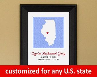 Baby Shower Gift - Custom Birth Announcement Print - Nursery Art - Personalized Illinois Map - 11 x 14