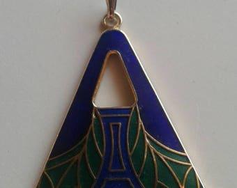 Vintage Triangular Enamel Pendant
