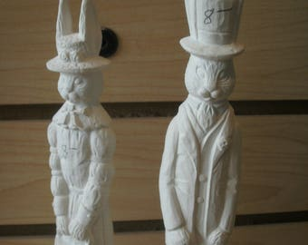 Ceramic bisque Pencil Easter rabbit decor gifts for her bisque to paint Dad and Mom Easter Bunny pencil thin decoration Easter decoration