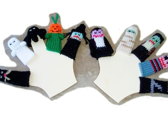 Deluxe Halloween Finger Puppet Set  (Includes Witch, Pumpkin, Spider, Ghost, Black Cat, Vampire, Mummy, Frankenstein, Pirate, and Ninja.)