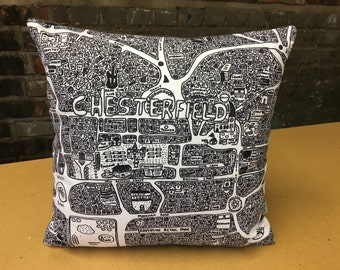 Chesterfield Doodle Map Cushion