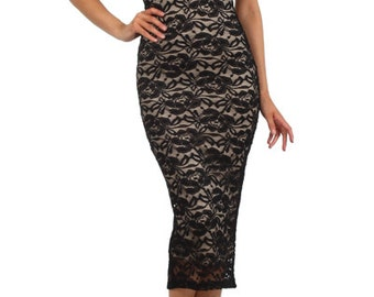 Black Lace Bodycon Midi Women's Dress