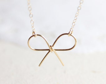 Gold Bow Necklace - 14 karat gold filled promise necklace, simple everyday jewelry by petitor