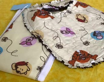 Bear Bib and Burp Cloth set