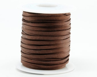 1/8 Inch 3MM Spool of Chocolate Brown Deerskin Leather Lace 50ft Deer Roll Lacing String Cord Craft Supplies Necklace Bracelet Wraps Fringe