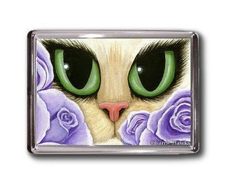 Lavender Roses Cat Magnet Fantasy Cat Art Framed Magnet Gifts For Cat Lovers