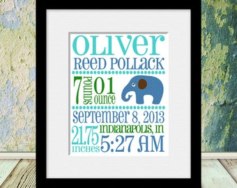 Birth Announcement Wall Print, Nursery Wall Art, New Baby Birth Announcement, Birth Statistic Wall Poster, Grandparents Gift, New Baby Gift
