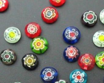 Assorted Millefiori pattern Flat Round disc Millefiori Beads - A5035 25 pcs 8mm
