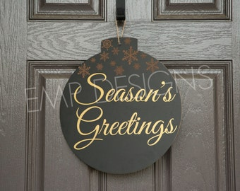 Season's Greetings Christmas Sign, Christmas Home Decor, Holiday Sign, Holiday Door Sign, Christmas Door Sign