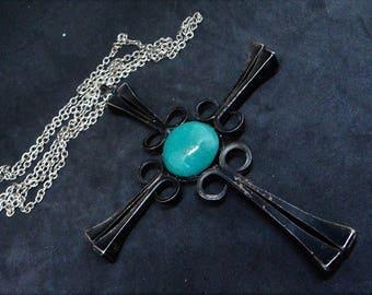 c.1970s Horseshoe Nail Necklace... Blackened Cross Pendant... Green Ceramic Cabochon... Mid Century Jewellery