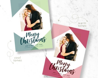Colorblock Christmas Holiday Photo Cards